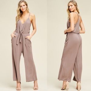 EMSLEY Front Tie Jumpsuit - TAUPE